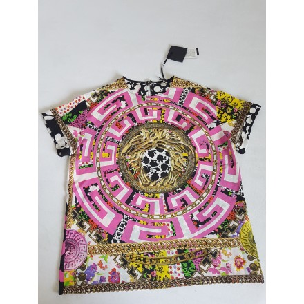 PRINT SILK  T -Shirt VERSACE  FOR THE WOMAN